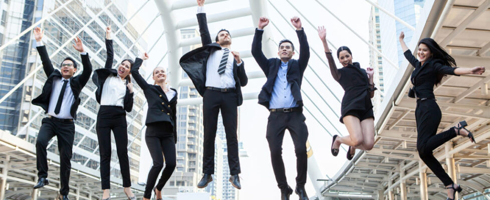 Business People Celebration Success Jumping Ecstatic Concept Team work