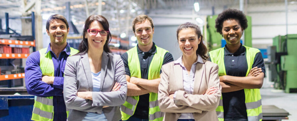 Portrait of staff at distribution warehouse